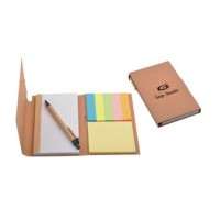 Recycled material notepad with ball pen