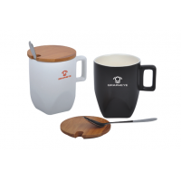 Matt Ceramic Cup with Bamboo Lid and Spoon